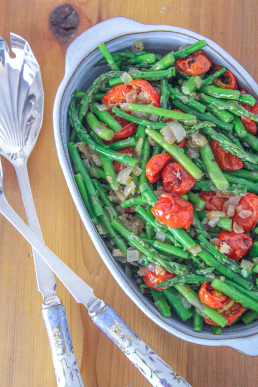 Sautéed Asparagus with Broiled Cherry Tomatoes