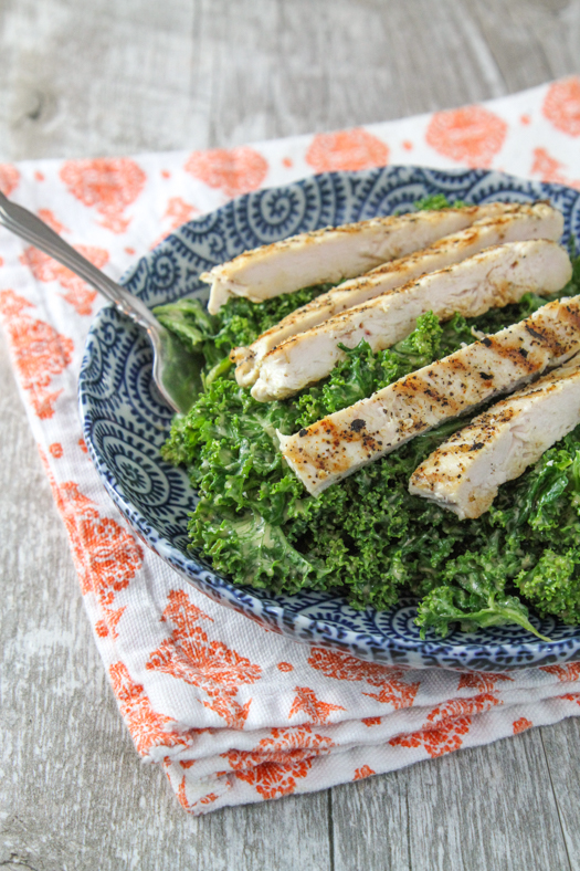Grilled Chicken & Garlicky Kale Salad