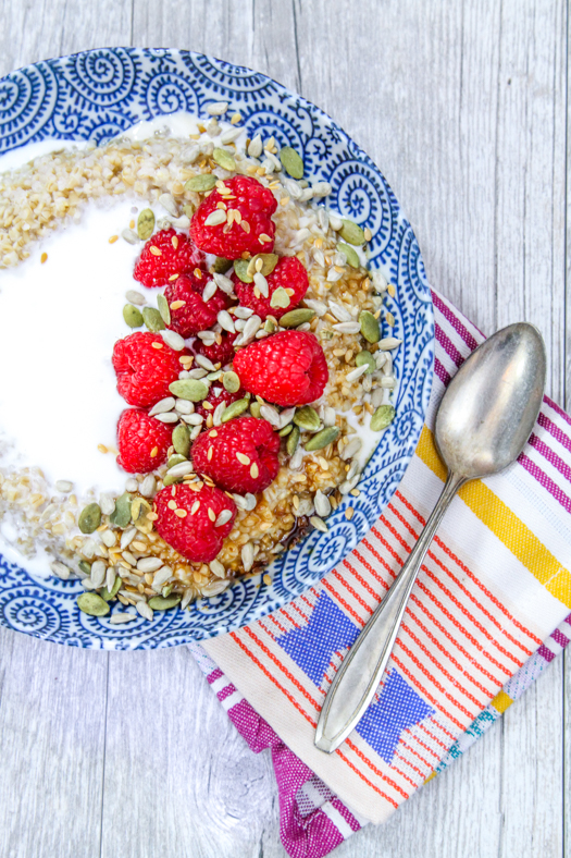 Irish Oatmeal with Coconut Milk Raspberries and Seeds