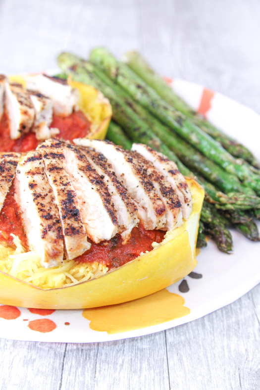 Spaghetti Squash with Chicken and Asparagus